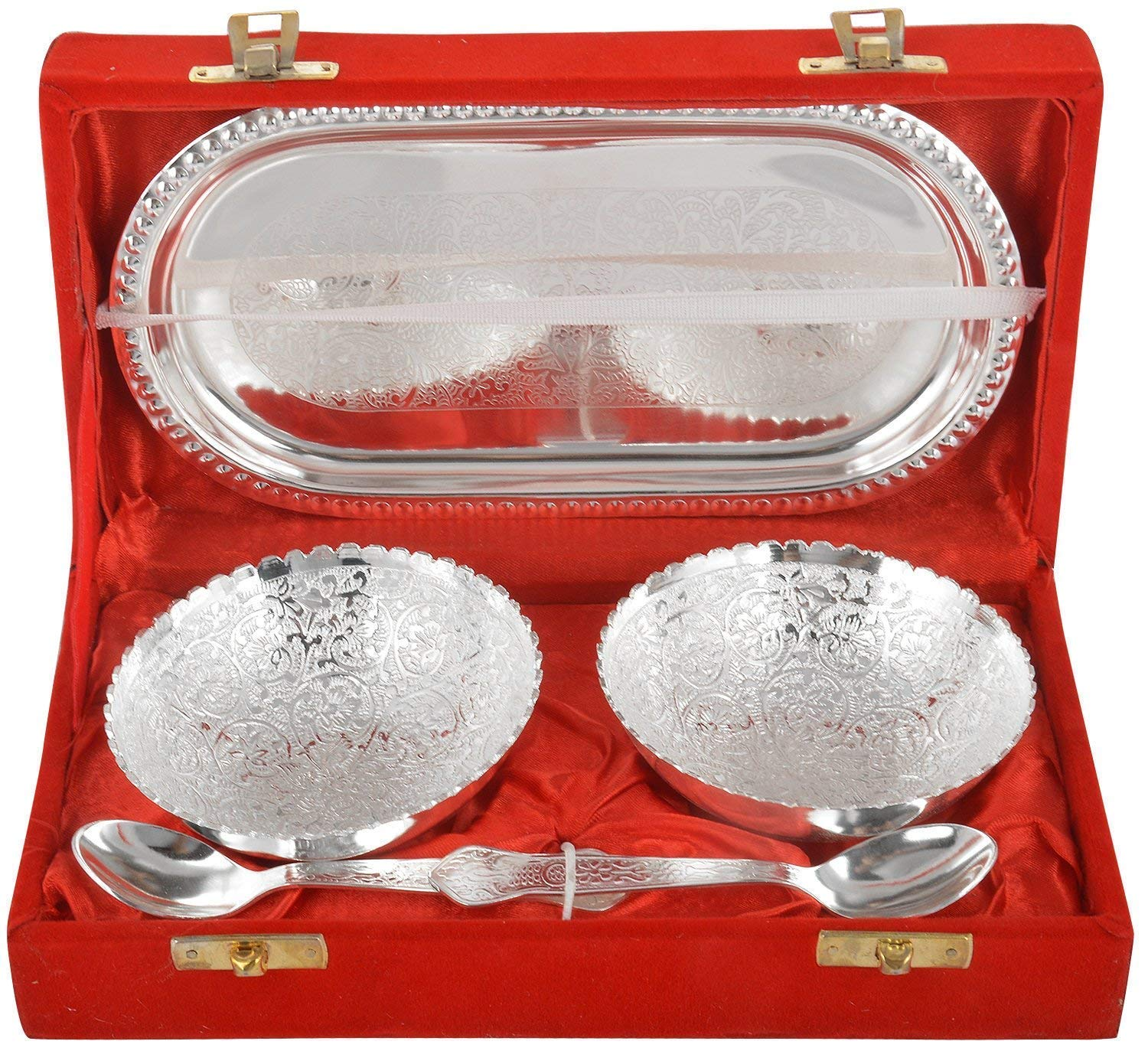Wedding Return Gifts In Bangalore: Jaipur Ace German Silver Bowl, Spoon And Tray Set