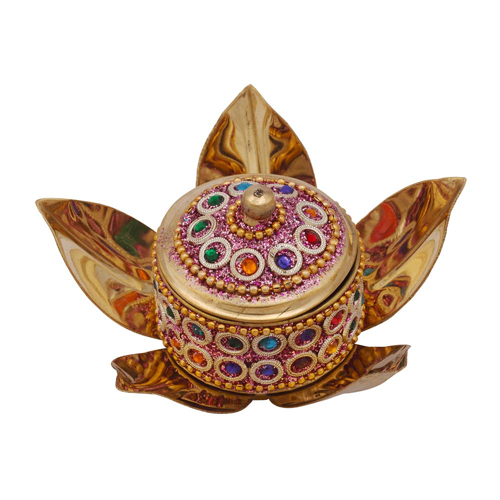 Send Wedding Gifts Online India: Lotus Kumkum Box (Stone Work)