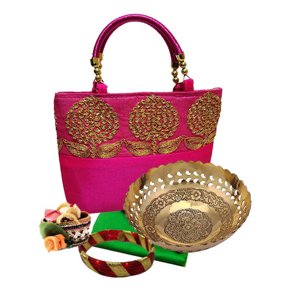 Wedding Return Gifts In Bangalore: Combo: Floral Sitara Handbag + Brass Fruit Bowl