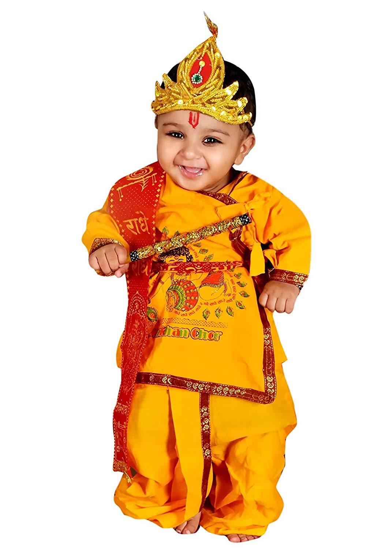Kids Cotton Yellow Krishna Style Kurta & Dhoti Dress (Pack Of 5-Kurta,Dhoti,Bansuri,Mukut,Patka